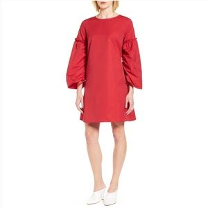 Halogen Parachute Sleeve Shift Dress Red Holiday